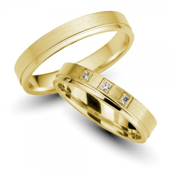 Trauringe 585er Gelbgold Brillant 0,06 ct.
