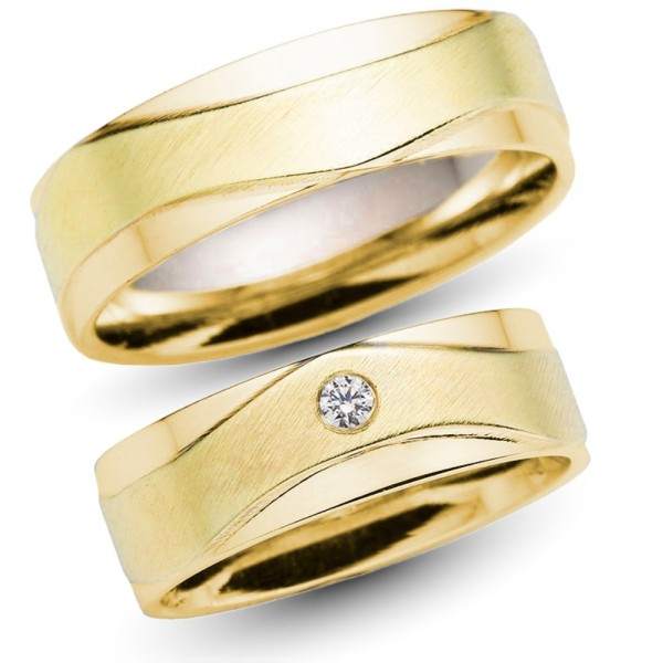 Trauringe 333er Gelbgold 0,04 ct. Brillant