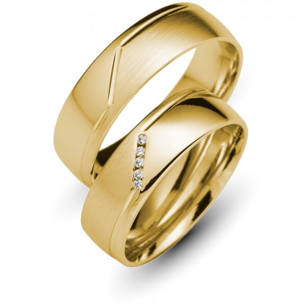 Trauringe 333er Gelbgold Brillant 0,025 ct.