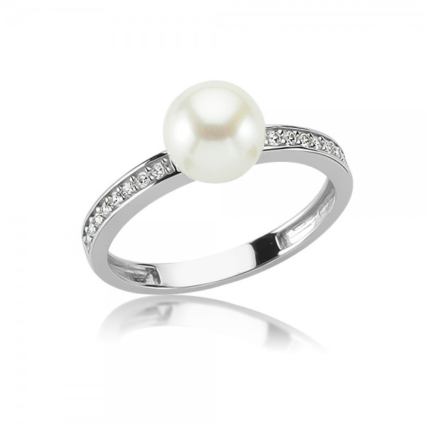 Damenring 925 Sterling Silber Zirkonia Perle