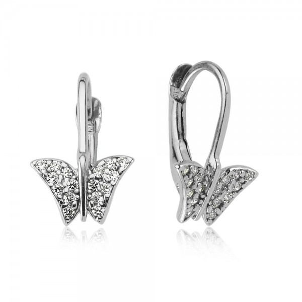 Ohrhänger Schmetterling 925 Sterling Silber Zirkonia