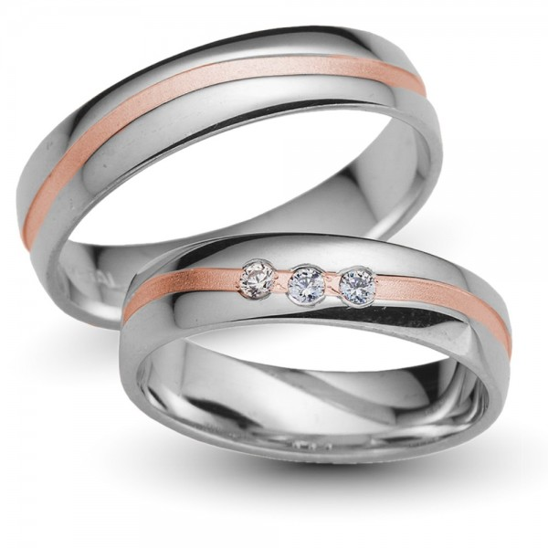 Trauringe 333er Weiss-/Rotgold Brillant 0,09 ct.
