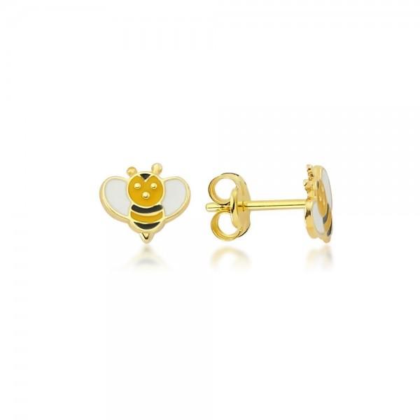 Ohrstecker Biene 375er Gold
