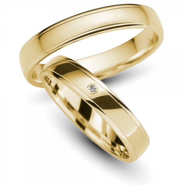 Trauringe 585er Gelbgold Brillant 0,01 ct.