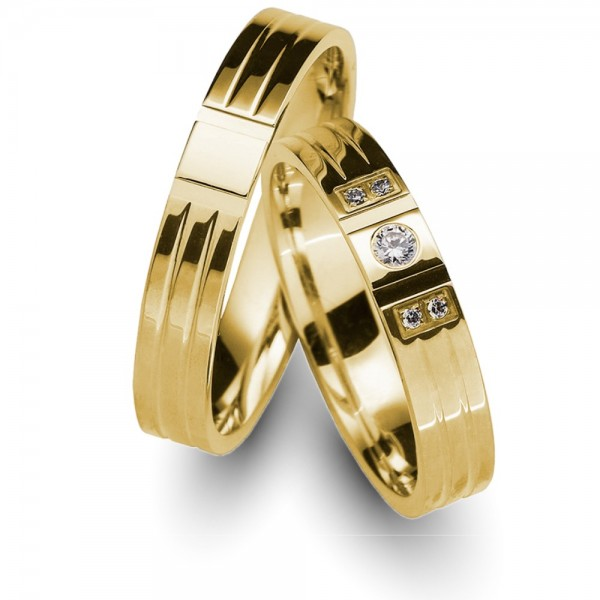 Trauringe 585er Gelbgold Brillant 0,07 ct.