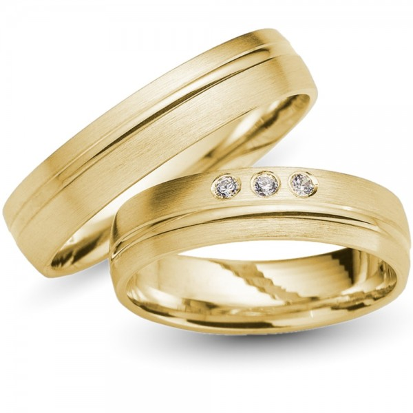 Trauringe 333er Gelbgold Brillanten 0,06 ct.