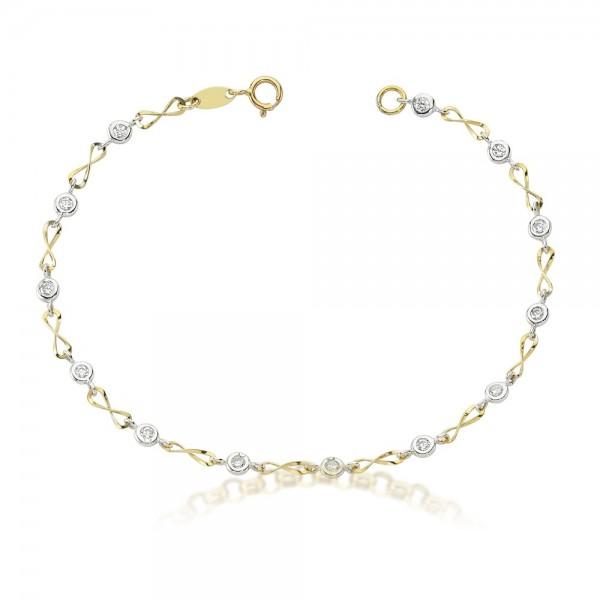 Armband 333er Gold Bicolor Zirkonia