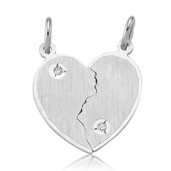 Freundschaftsanhänger Herz 925 Sterling Silber Gravur