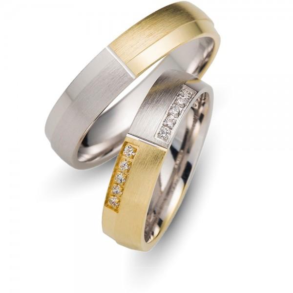 Trauringe 333er Weiss-/Goldgold Brillant 0,10 ct.