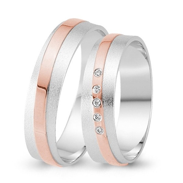 Trauringe 333er Weiss-/Rotgold 0,025 ct. Brillant