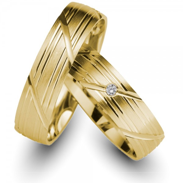 Trauringe 333er Gelbgold 0,02 ct. Brillant