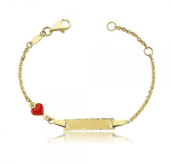Kinderarmband 333er Gold Gravur Herz