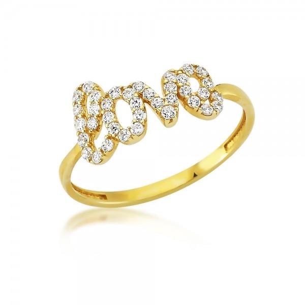 Damenring 333er Gold Zirkonia Love