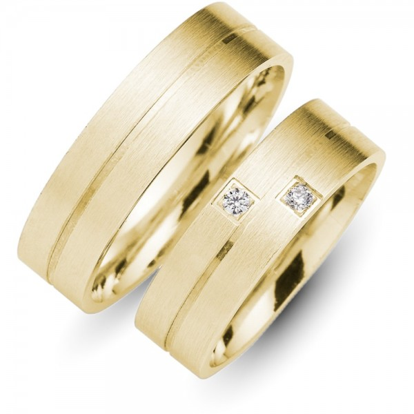Trauringe 585er Gelbgold 0,04 ct. Brillant TR10045