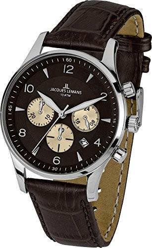 Jacques Lemans Herren-Armbanduhr Leder 1-1654D