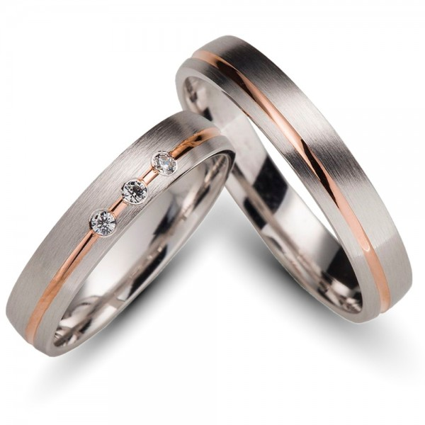 Trauringe 333er Weiss-/Rotgold 0,06 ct.