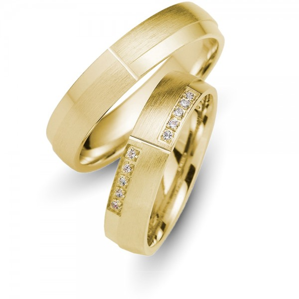 Trauringe 333er Gelbgold Brillant 0,10 ct.