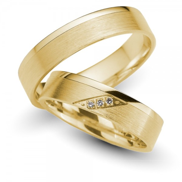 Trauringe 585er Gelbgold Brillant 0,03 ct.