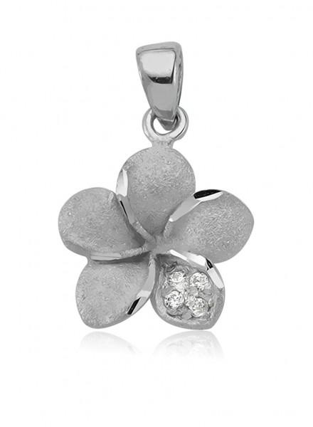 Anhänger Blume 925 Sterling Silber Zirkonia