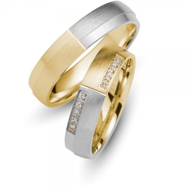 Trauringe 333er Gold-/Weissgold Brillant 0,10 ct.