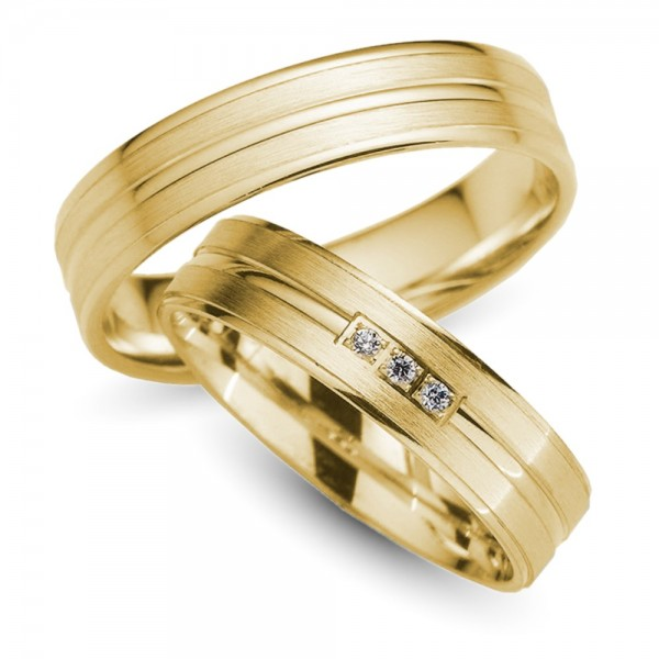 Trauringe 333er Gelbgold Brillanten 0,03 ct.