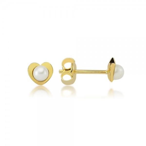 Ohrstecker Herz 375er Gold Perle