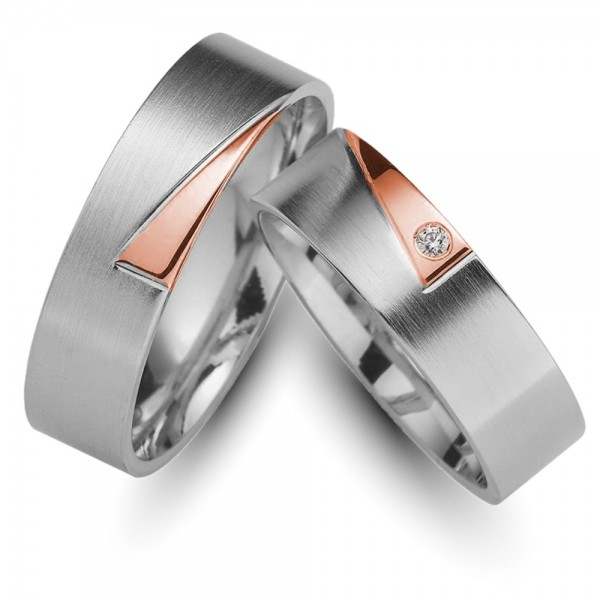Trauringe 333er Weiss-/Rotgold Brillant 0,02 ct.