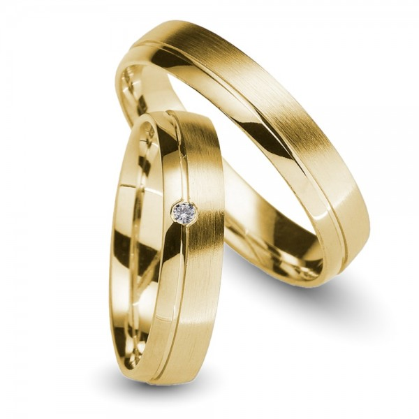 Trauringe 585er Gelbgold Brillant 0,02 ct.
